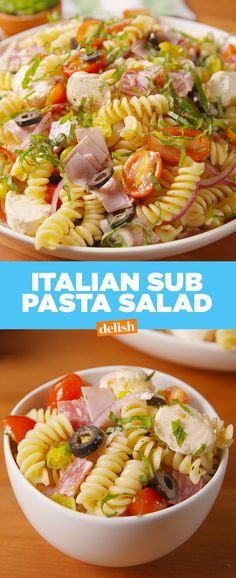Italian Sub Pasta Salad Is Almost Too Good To Share - Food - Sandwich Recipes Italian Pasta Recipes, Italian Appetizers, Pasta Salad Italian, Healthy Pasta Recipes, Healthy Pastas, Pasta Salad Recipes, Italian Sub Salad Recipe, Cold Appetizers, Food Salad