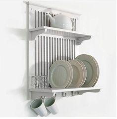 FoxHunter Égouttoir à vaisselle suspendu avec crochets Blanc