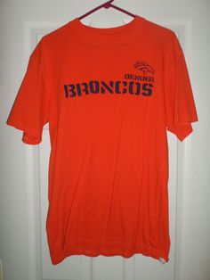 Men's Black & Orange DENVER BRONCOS NFL Short Sleeve Logo Shirt, Size L, GUC #NFL #DenverBroncos