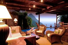 St. Lucia - Ladera Resort.  Every villa has its own private plunge pool.  This place is definitely in the honeymoon running!
