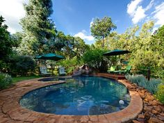 Book your stay at Woodland Gardens in Magaliesburg, South Africa. Garden Lodge, Woodland Garden, Garden Pool, South Africa, Gardens, Pools, Places, Outdoor Decor, Backyards