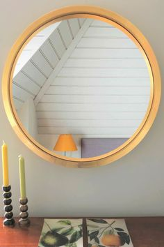 Give your walls a lift with a large round mirror in a gorgeous gold leaf finish. Gold radiates warmth and adds glamour and style to an otherwise neutral bedroom scheme.   Available in 115cm, 94cm and 69cm diameter.  #largeroundmirror #goldroundmirror #roundwallmirror #omelomirrors #mirror #reflection #bedroomdecor #interiordecorating #walldecor Extra Large Round Mirror, Round Mirrors, Convex Mirror, Bedroom Decor, Wall Decor, Gold Leaf, Contemporary Design, Reflection, Interior Decorating
