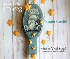 Handmade Gifts Home Decor Canvas Art Putz by IreneandNickiCrafts Putz Houses, Reaching For The Stars, Happy Easter, Easter Candle, Handmade Gifts, Canvas Art, Etsy Seller, Paper Crafts, Candles