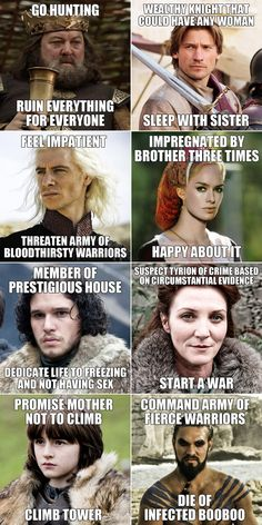 game of thrones includes some poor decision making. [and this is just the beginning! i mean, robb isn't even on here.]