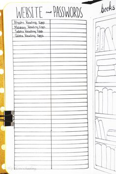 homeschool planning: our password tracker How I Plan my homeschool year in my bullet journal: homeschool planning Wreck This Journal, My Journal, Journal Prompts, Journal Pages, Nature Journal, Bullet Journal Agenda, Bullet Journal Inspo, Bullet Journal To Read List, Bullet Journal Ideas 2018