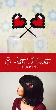 So easy to do 8-bit Heart Hairpins! @Darice_Crafts #livecraftlove #8-bit #geeky…
