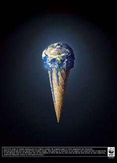 WWF - Réchauffement climatique (TBWA) Design graphique association de la terre à une glace à l'Italienne, toutes deux se liquéfient.