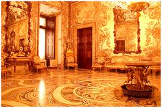 baroque room in royal palace madrid