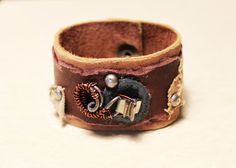 Brown Leather and Khaki Layered Cuff Bracelet - Wire Wrapped Metal Decoration - Distressed Textured Jewelry - 7.5 inch by The Repurposed Artist