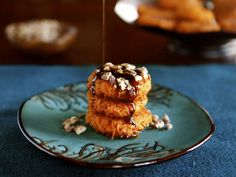 Sweet Potato Latkes - Savory or Sweet with Brown Sugar Syrup and Cayenne Candied Pecans #Hanukkah #Thanksgiving #Thanksgivukkah