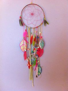 Tropical Ombré Dreamcatcher w Hand Painted details, parrot feathers, FREE SHIPPING. $85.00, via Etsy.   ocean, island, watercolor, hippie, boho, hipster, ombré, handmade, feathers, coral, beach, Caribbean, Saint Lucia, St. Lucia