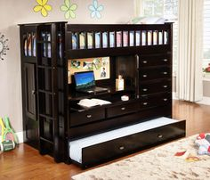 This all in one twin loft bed with storage from Custom Kids Furniture includes a loft, desk, trundle bed, and dresser to make the most out of limited space in your child's room! The desk with a pull o Bunk Bed With Desk, Loft Bunk Beds, Bunk Beds With Storage, Modern Bunk Beds, Bunk Bed With Trundle, Bunk Beds With Stairs, Kids Bunk Beds, Bed Storage, Hidden Storage