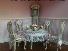 Shabby Chic Dolls House Furniture 1 12 OOAK Cake Tea Shop Clock Table Chairs | eBay...one of my original items