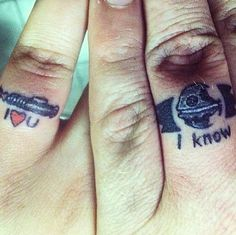 Why not seal your love the Star Wars way! His and hers Star Wars tattoo... :P #starwars #tattoo