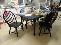 Black Farm Table 36x66 with self-storing leaf.  set has 6 Windsor Chairs