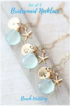 Bridesmaid Necklace Set, Bridesmaid GIFT SET of THREE Personalized Starfish Necklaces, Aqua Bridesmaid Necklace Beach Wedding Summer Wedding #Affiliate