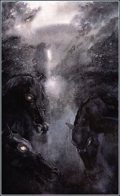 Alan Lee. Illustration of the dark riders, from the Lord Of The Rings novels.