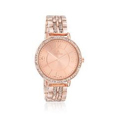 Ross-Simons - Louis Arden Women's 40mm Rose Goldtone Watch With Crystals - #LSAP22