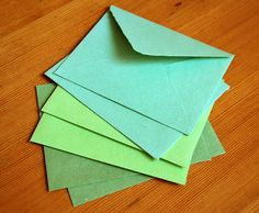 Assortment of green envelopes handmade by tallmoosedesigns on Etsy, $9.00