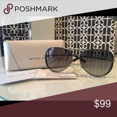 Michael Kors Chelsea Sunglasses Aviator style like new, no scratches, in original case with tags. Metal frames, case included. Color gun metal. Michael Kors Accessories Sunglasses