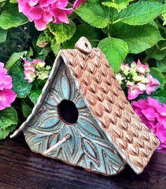 Ceramic Pottery Whimsical Bird House for your hydrangea garden by California Soulshine Designs