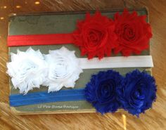 SET of 3 BABY Headbands Red White and Blue by LilPinkGoose on Etsy, $14.95