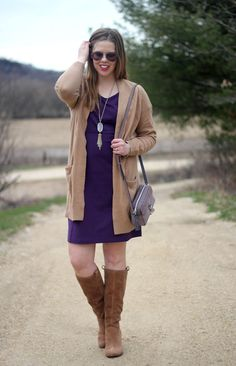 Purple and Camel for Spring: purple Duluth Trading Company purple dress, camel cardigan via Nordstrom, UGG Ava boots, Kendra Scott necklace, Rebecca Minkoff camera purse | Puppies & Pretties