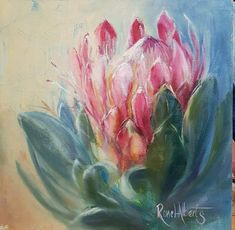 Protea Art, Protea Flower, Abstract Flowers, Watercolor Flowers, Watercolor Art, Paintings I Love, Beautiful Paintings, Acrilic Paintings, Australian Native Flowers