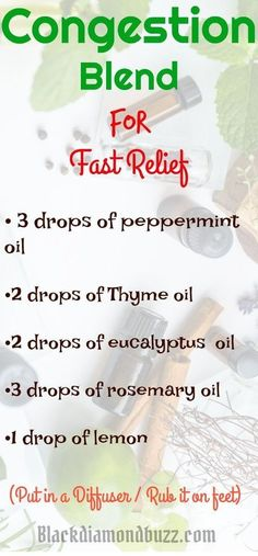 Essential Oil Congestion,sinus and cold Blend Diffuser Recipe. 3 drops of peppermint essential oil 2 drops of Thyme essential oil 2 drops of eucalyptus essential oil 3 drops of rosemary essential oil 1 drop of lemon #essentialoil