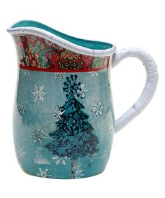 $26.99 marked down from $63! Folklore Holiday Earthenware Pitcher #christmas #tracyporter #zulilyfinds