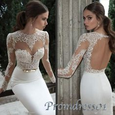 Prom dress 2015, white lace open back long sleeves mermaid prom dress, wedding dress, ball gown, cute+dresses+for+teens #promdress #wedding