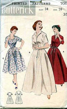 1954 Butterick Pattern for a robe or brunch coat
