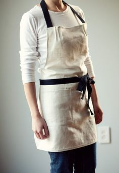 Apron Linen with Black Twill and light blue by LemonstringByErlina, $35.00