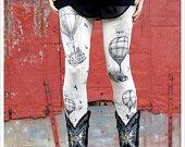 Hot Air Balloon Leggings - Womens Legging - IVORY - Tights - OZ - MEDIUM. $30.00, via Etsy.