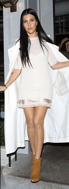 Kourtney Kardashian wearing Cartier, Stella McCartney, AME Sleepwear and Stuart Weitzman