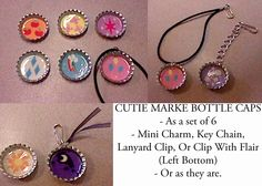 My Little Pony Cutie Mark Bottle Caps Key Chains, Mini Charms etc www.etsy.com/shop/lexiafira