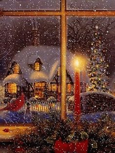 Imagine this wonderful view outside your bedroom window! I wish mine looked like… – Candle Making Merry Christmas Gif, Christmas Scenery, Cosy Christmas, Magical Christmas, Christmas Past, Victorian Christmas, Vintage Christmas Cards, Christmas Images, Christmas Greetings