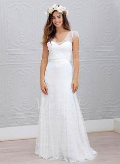 Wedding Dresses - $168.67 - A-Line/Princess V-neck Sweep Train Chiffon Lace Wedding Dress With Sash (0025059918)