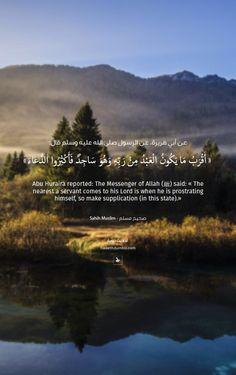 "عن أبي هريرة، عن النبي صلى الله عليه وسلم قال:"" أَقْرَبُ مَا يَكُونُ الْعَبْدُ مِنْ رَبِّهِ وَهُوَ سَاجِدٌ فَأَكْثِرُوا الدُّعَاءَ ""صحيح مسلم Abu Huraira reported: The Messenger of Allah (ﷺ) said:"" The nearest a servant comes to his Lord is when he is prostrating himself, so make supplication (in this state)."" Sahih Muslim 482 In-book reference : Book 4, Hadith 245USC-MSA web (English) reference : Book 4, Hadith 979"