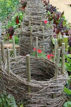 Raised container gardening. Can use grape vine to weave around sticks and  with dirt. Could also be used as a support cage for garden plants.