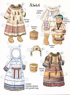 Alaskan children Paper Dolls by Yuko Green - Arctic Circle Enterprises, Inc… Paper Toys, Paper Crafts, Folk Costume, Costumes, Paper Dolls Printable, Illustration Mode, Thinking Day, Vintage Paper Dolls, Native American Indians