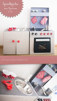 Craft DIY kitchen games from cardboard yourself - www. Diy Karton, Cocina Diy, Kitchen Games, Dramatic Play, Kids And Parenting, Diy And Crafts, Upcycle, Kindergarten, Projects To Try