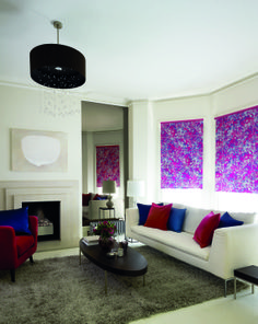 Funky white blue and pink patterned roller blinds in bay window Blinds For You, Curtains With Blinds, Blinds For Windows, Roller Blinds Design, Patterned Blinds, Pink Fireworks, Bedroom Blinds, Kitchen Blinds, Living Room Windows