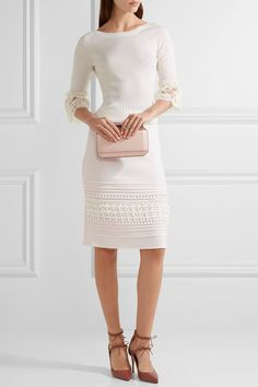 Oscar de la Renta - Crochet-paneled Pintucked Stretch-crepe Skirt - Ivory - US10