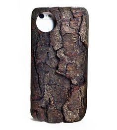 Cherry Bark Wood iPhone 5/5S Kerf Case by Kerf Case- Carry a bit of the forest in your pocket with this rough-hewn bark iPhone 5/5S case. Made from live-edge cherry wood and lined with natural cork, each iPhone case is handcrafted and a perfect fit––both in your hand and your pocket. @Shoppe by Scoutmob
