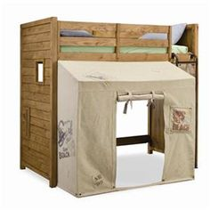 A SERIOUSLY awesome bed for a little boy or little girl who's a tom boy! :) Cool Wooden Loft Bed Furniture With Canopy Tent - AzMyArch