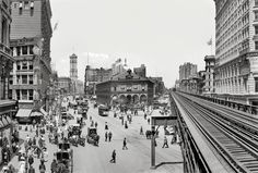 """New York circa 1908. """"Herald Square."""" Panorama composed of two 8x10 inch glass negatives, digitally merged, showing Broadway at 34th Street. Landmarks include the the New York Herald newspaper building (with its clockwork blacksmith bell-ringers and electrified owls), Sixth Avenue elevated tracks, New York Times building and Hotel Astor. Detroit Publishing Co."""