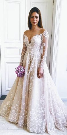 36 Gorgeous A-Line Wedding Dresses ❤️ a line wedding dresses with long sleeves illusion neckline lace floral misshayleypaige weddingforward wedding bride 419045940325132114 Lace Wedding Dress With Sleeves, Fall Wedding Dresses, Long Sleeve Wedding, Bridal Dresses, Dresses With Sleeves, Maxi Dresses, Lace Sleeves, Wedding Dressed With Sleeves, Eve Of Milady Wedding Dresses