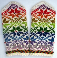 Originally rainbow wool mittens Hand knitted winter wool gloves Elegant warm colorful bright rainbow star ornament on a white background Fingerless Mittens, Knit Mittens, Knitting Socks, Hand Knitting, Wool Gloves, Knitted Gloves, Wrist Warmers, Hand Warmers, Rainbow Star