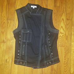 Black moto style vest Juniors Large Worn once , black with white stitching and silver grommets entry Tops